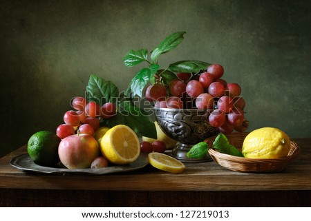 Still life with fruit - stock photo