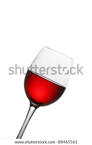 Still-life with glass of wine over white background - stock photo