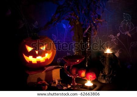 Still life with halloween pumpkin - stock photo