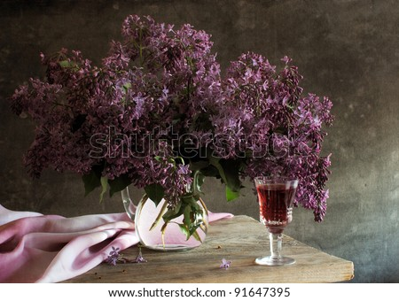 Still life with lilac - stock photo