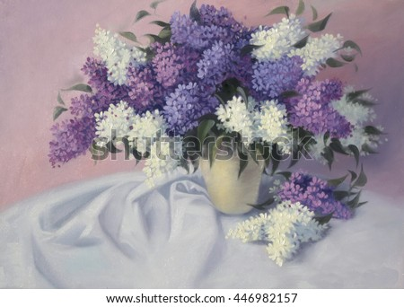 Still life with lilac on a pink background. Purple, white and pink flowers in the vase.Original oil art painting on canvas.Paintings in the style of realism - stock photo