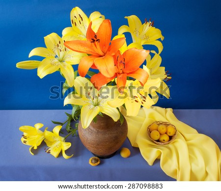 Still life with lily flowers and apricots on artistic background - stock photo