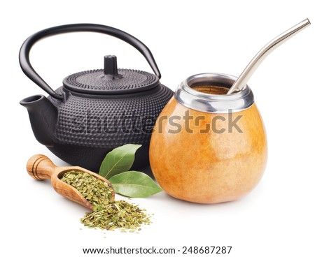 still life with mate yerba and teapot isolated on white - stock photo