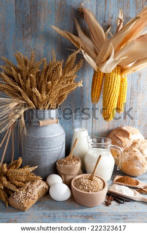Still life with natural food products - stock photo