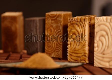 Still-life with natural soap bars. - stock photo
