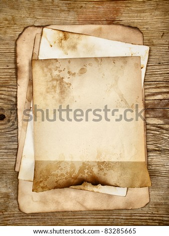 Still-life with old blank papers close-up - stock photo