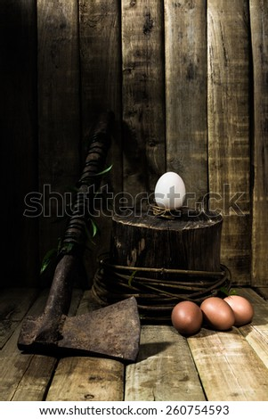 Still life with old rusty steel axe, duck egg on stump, chicken eggs on wood table background - stock photo