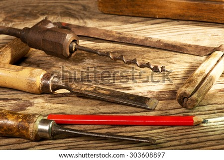 still life with old tools in the workroom - stock photo