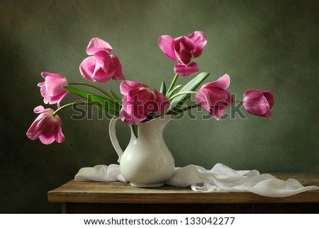 Still life with pink tulips - stock photo