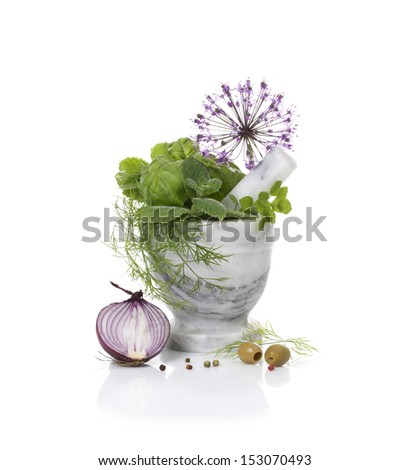 Still-life with pounder, olives, salad and onion - stock photo