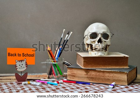 """Still life with school books and  """"back to school""""  - stock photo"""