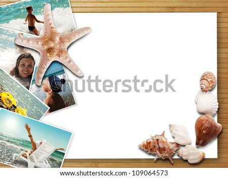 Still life with sea shells, summer photos and white card - stock photo