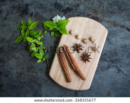 still life with spices on table grunge background, top view - stock photo