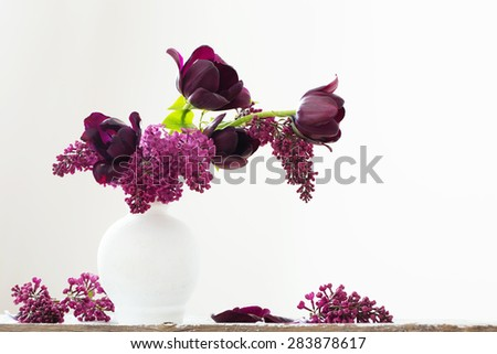 Still life with spring flowers - stock photo