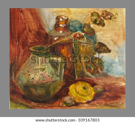 still life with squash and plant - stock photo