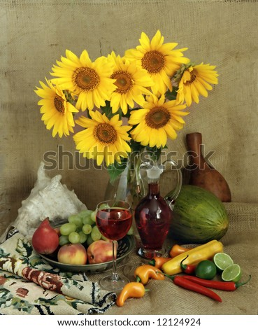 still-life with sunflowers bouquet - stock photo