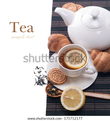 still life with tea cup and  cookies - stock photo