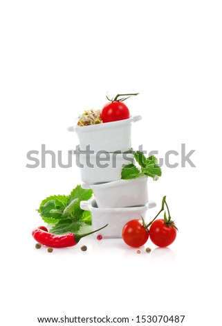 Still-life with tomatoes, chilli and sprouts - stock photo