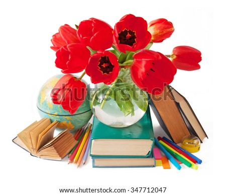 Still life with tulip flowers, globe, map and books isolated on white background. Teacher's day concept - stock photo