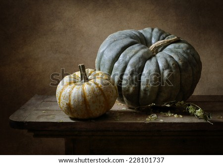 Still life with two pumkins - stock photo
