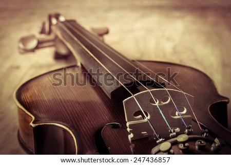Still life with vintage violin - stock photo