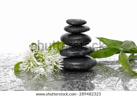 Still life with wet stacked stones with bamboo, white flower - stock photo