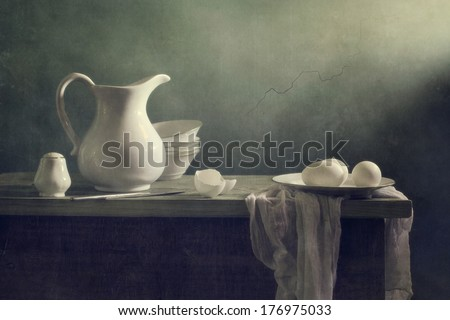 Still life with white porcelain - stock photo