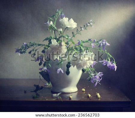 Still life with white roses - stock photo