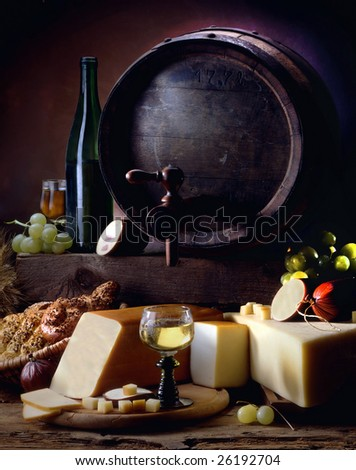 Still life with wine and cheese - stock photo