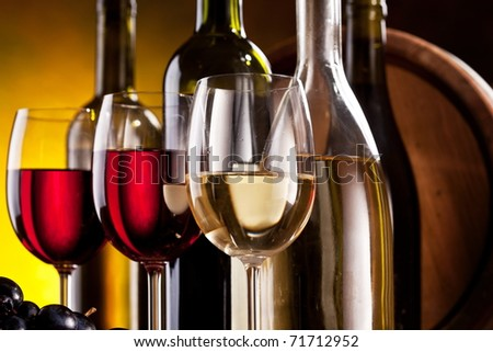 Still life with wine bottles and glasses - stock photo