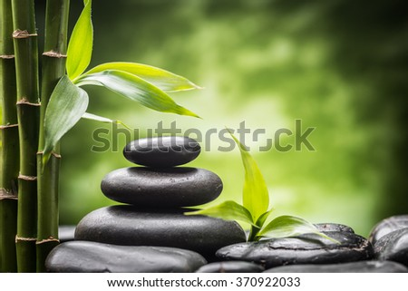 still life with zen basalt stones and bamboo .(focus on the stone) - stock photo