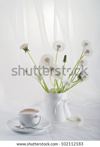 Stillife with dandelions - stock photo