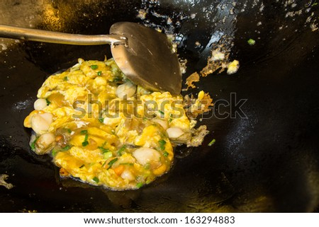 Stir fire oyster with egg sticky,Chinese food style - stock photo