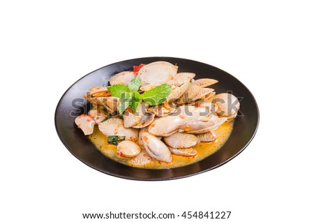 stir-fired clams with roasted chili paste on white background, isolate with clipping path - stock photo