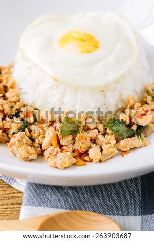 Stir-Fried Basil Chicken , Fried Egg with Rice - stock photo