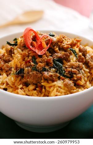 Stir-Fried Basil Pork with Fried Rice (Thai Food) - stock photo