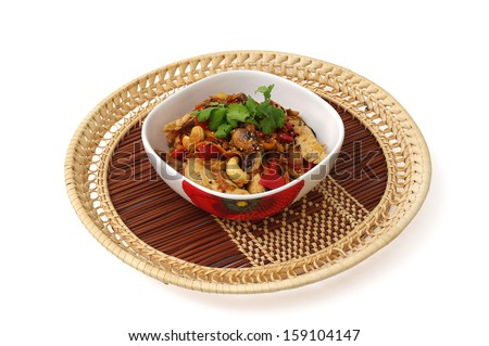 Stir-fried chicken breast with vegetables - stock photo