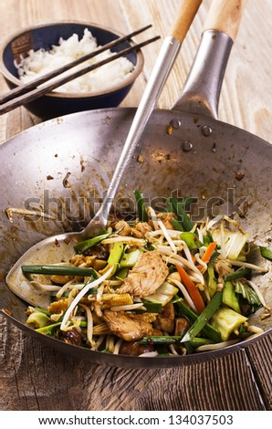 stir fried chicken with vegetables - stock photo