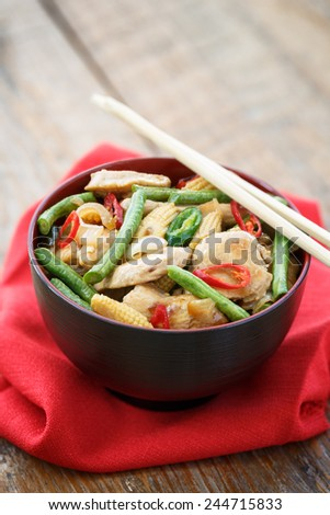 stir fried minced chicken with vegetables, Thai food - stock photo