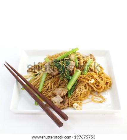 stir-fried noodles  - stock photo