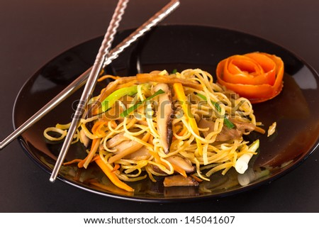 Stir fried noodles Chinese food ,it call mein Chow  - stock photo
