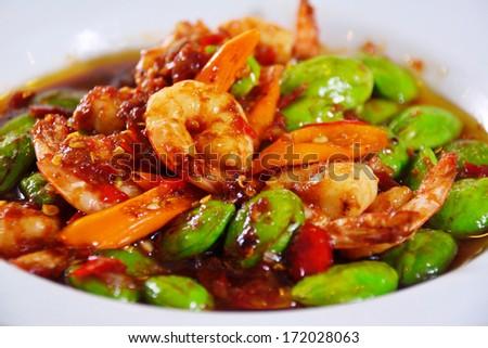 Stir-fried Thai Flat Beans with shrimp - stock photo