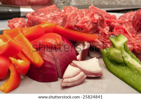 Stir Fry Ingredients Ready for Cooking - stock photo