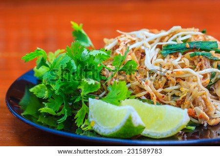 Stir fry noodles, Thai food Pad thai - stock photo