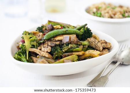 Stir fry vegetables with chicken - stock photo