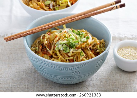 Stir fry with rice noodles, cabbage and carrot - stock photo