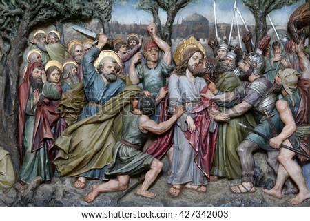 STITAR, CROATIA - AUGUST 27: Jesus in the Garden of Gethsemane, altarpiece in church of Saint Matthew in Stitar, Croatia on August 27, 2015 - stock photo