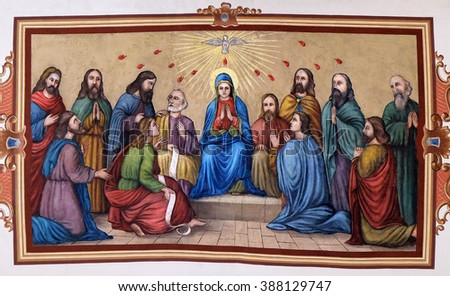 STITAR, CROATIA - AUGUST 27: Pentecost, the descent of the Holy Spirit, fresco in the church of Saint Matthew in Stitar, Croatia on August 27, 2015 - stock photo