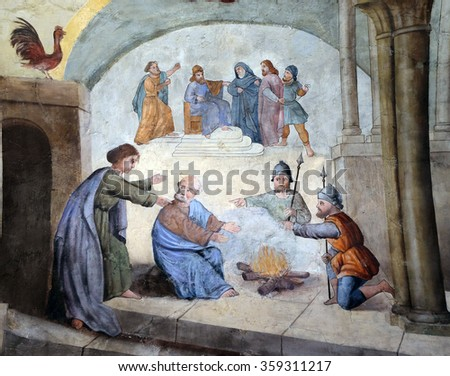 STITAR, CROATIA - AUGUST 27: Peter denies Jesus before the rooster crows three times, fresco in the church of Saint Matthew in Stitar, Croatia on August 27, 2015 - stock photo