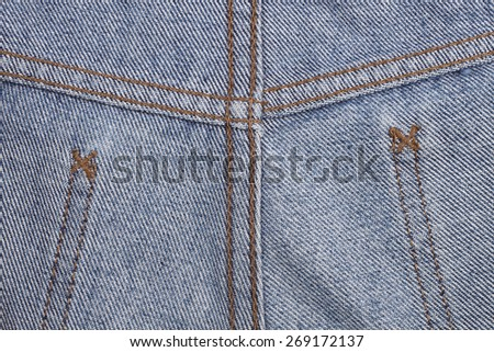 Stitch and seam clothing for leg of jeans for pattern. - stock photo